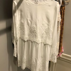"NEVER WORN WHITE ""LACE"" LOOKING LONG SLEEVE DRESS"